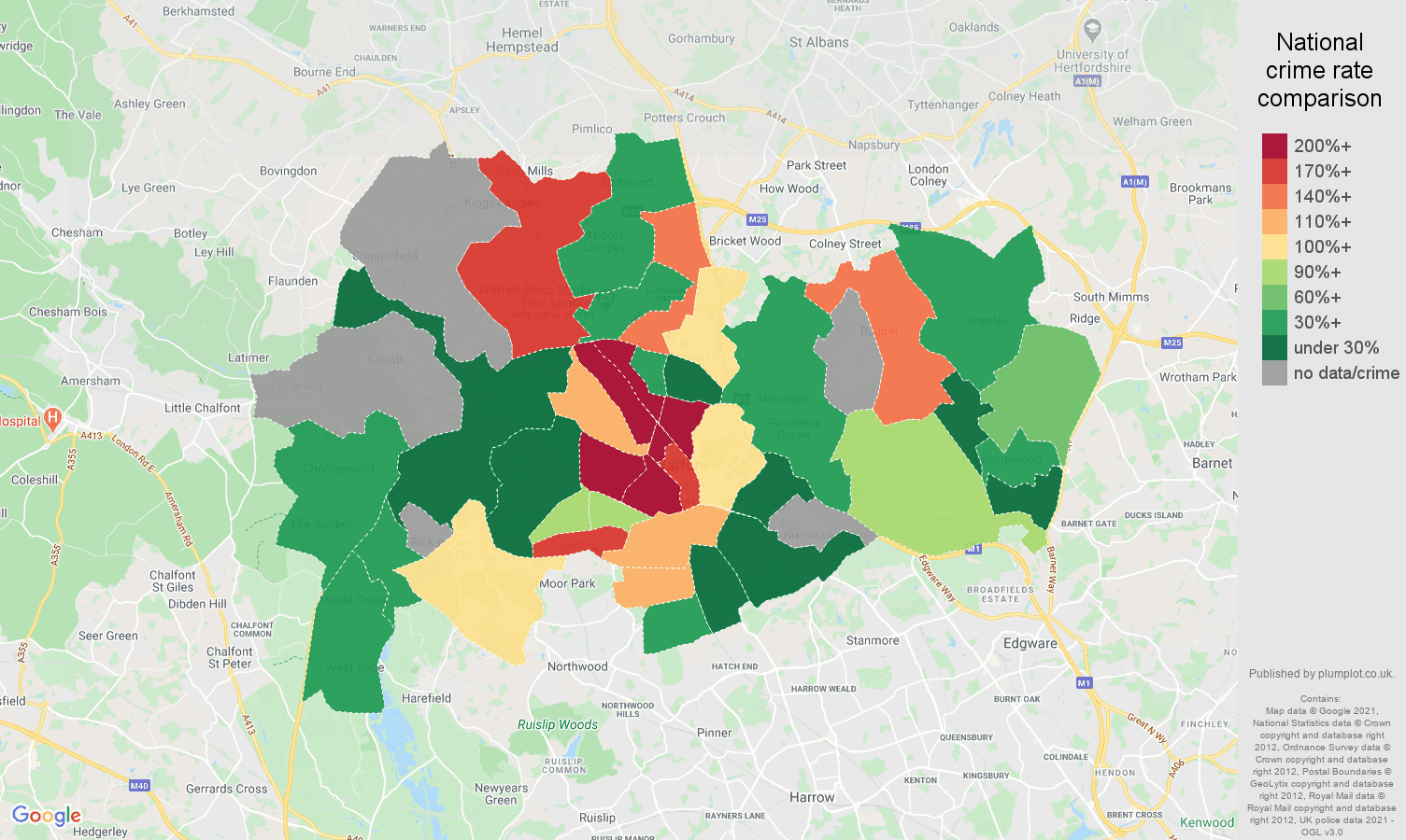 Watford bicycle theft crime rate comparison map
