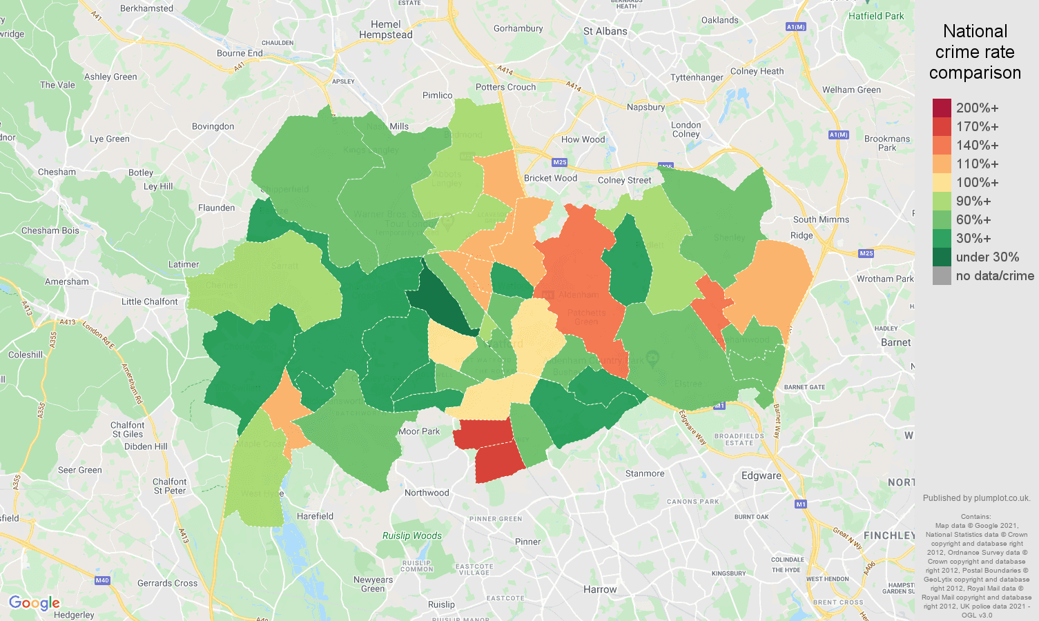 Watford criminal damage and arson crime rate comparison map