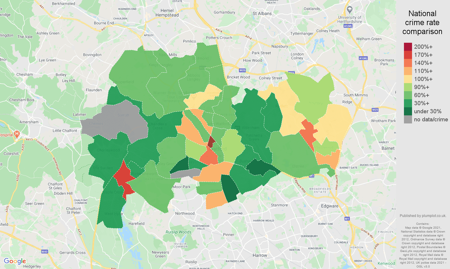 Watford drugs crime rate comparison map