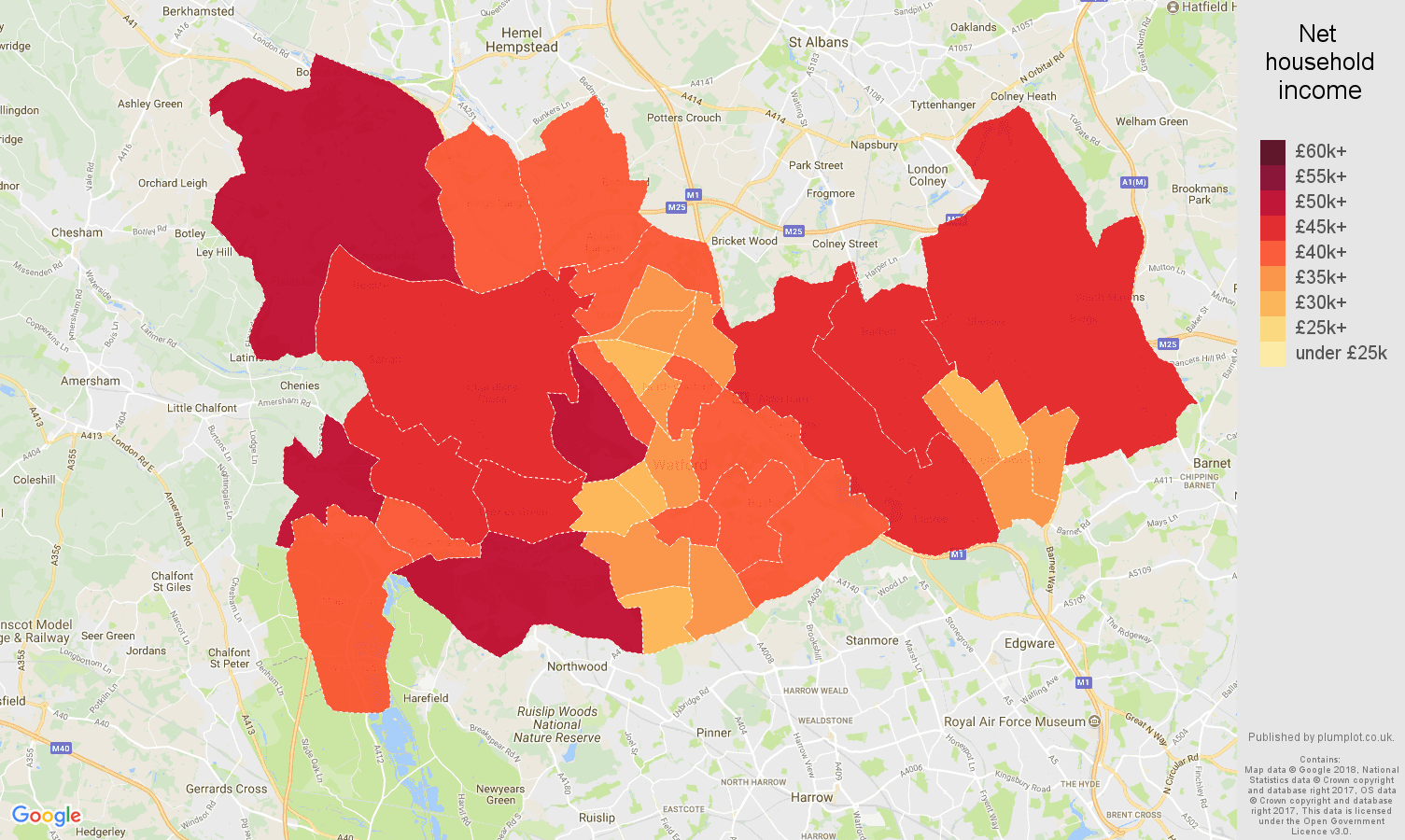 Watford net household income map