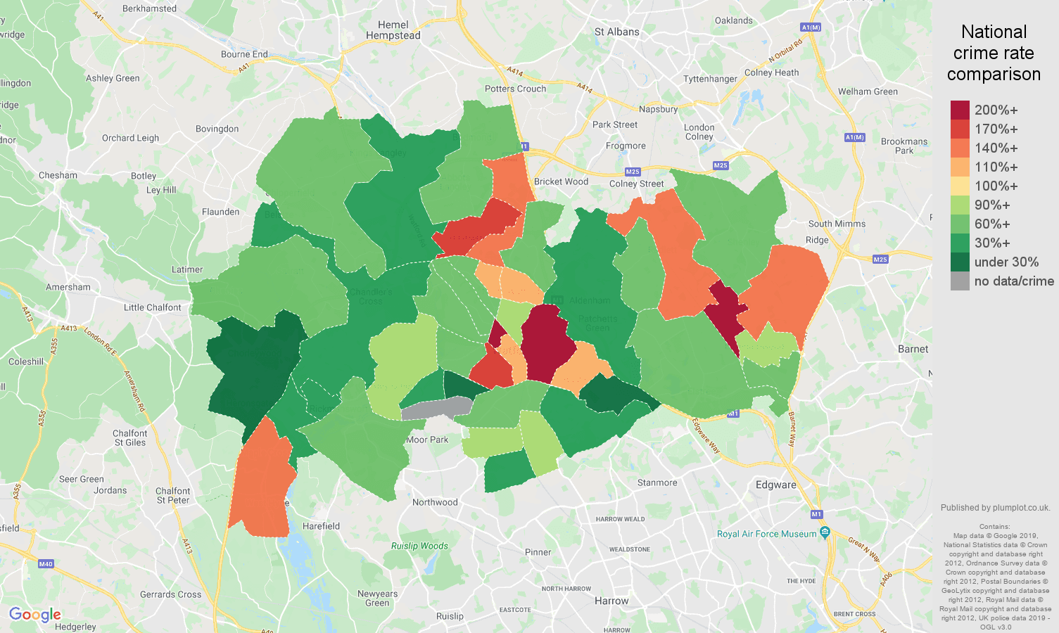 Watford other crime rate comparison map