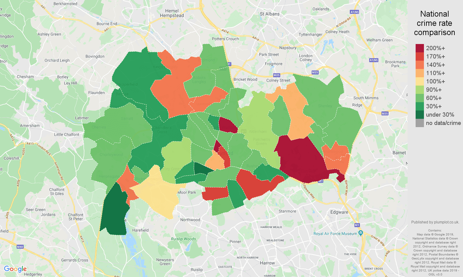 Watford other theft crime rate comparison map