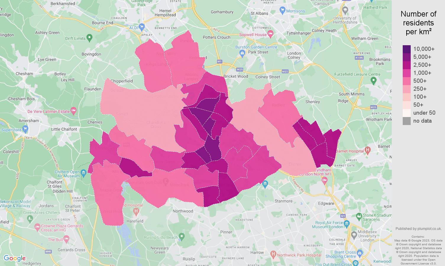 Watford population density map