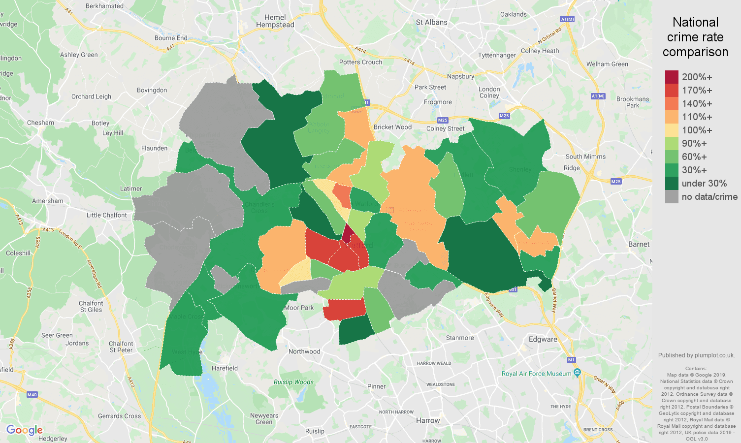 Watford possession of weapons crime rate comparison map