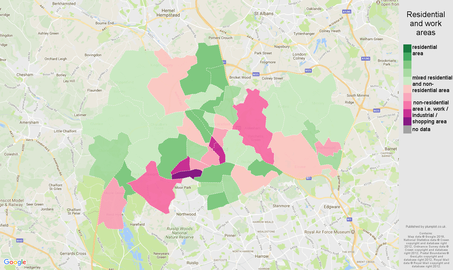 Watford residential areas map