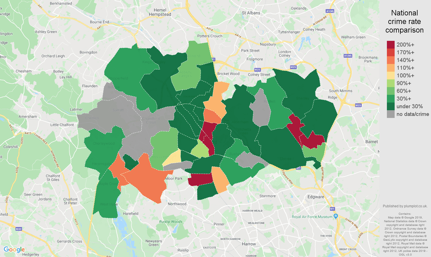 Watford shoplifting crime rate comparison map