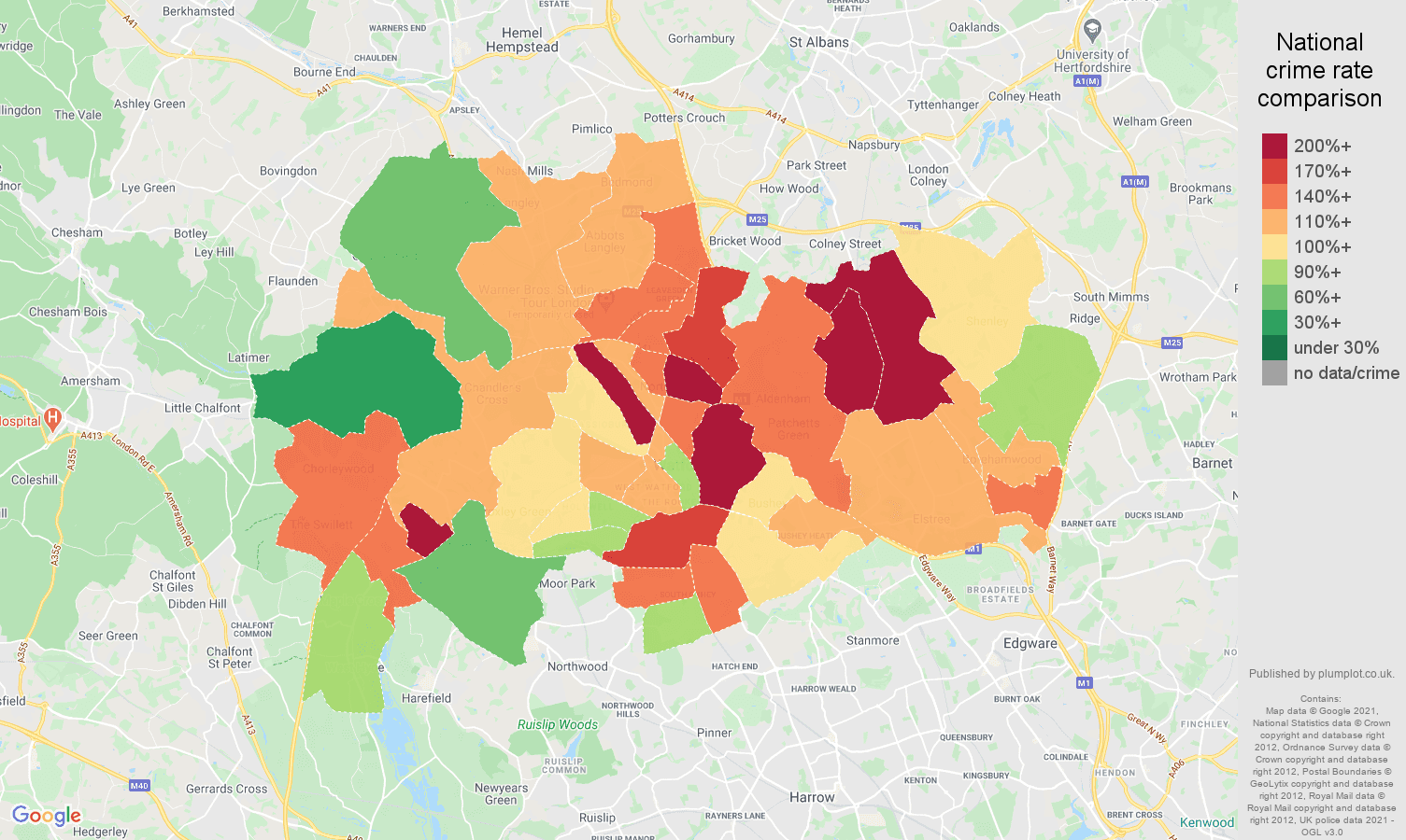 Watford vehicle crime rate comparison map