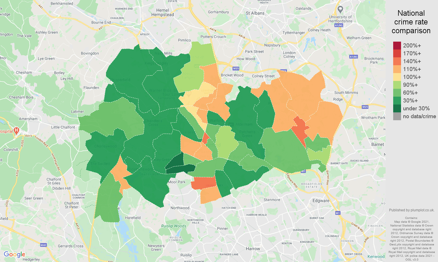 Watford violent crime rate comparison map