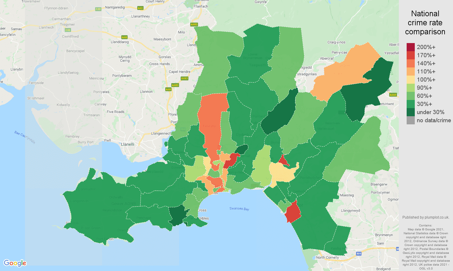 West Glamorgan burglary crime rate comparison map