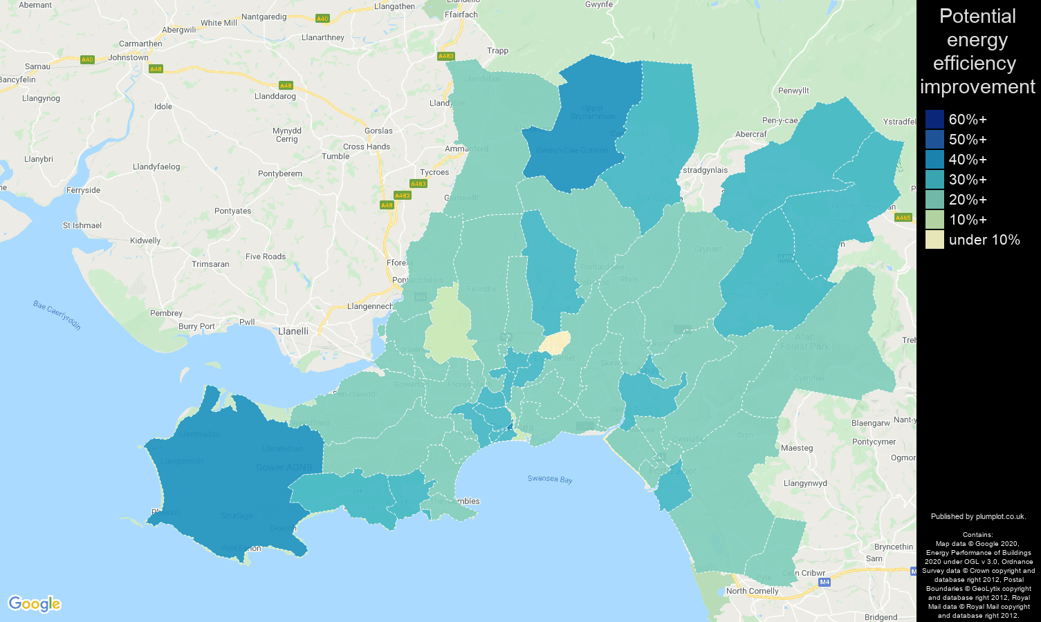 West Glamorgan map of potential energy efficiency improvement of houses