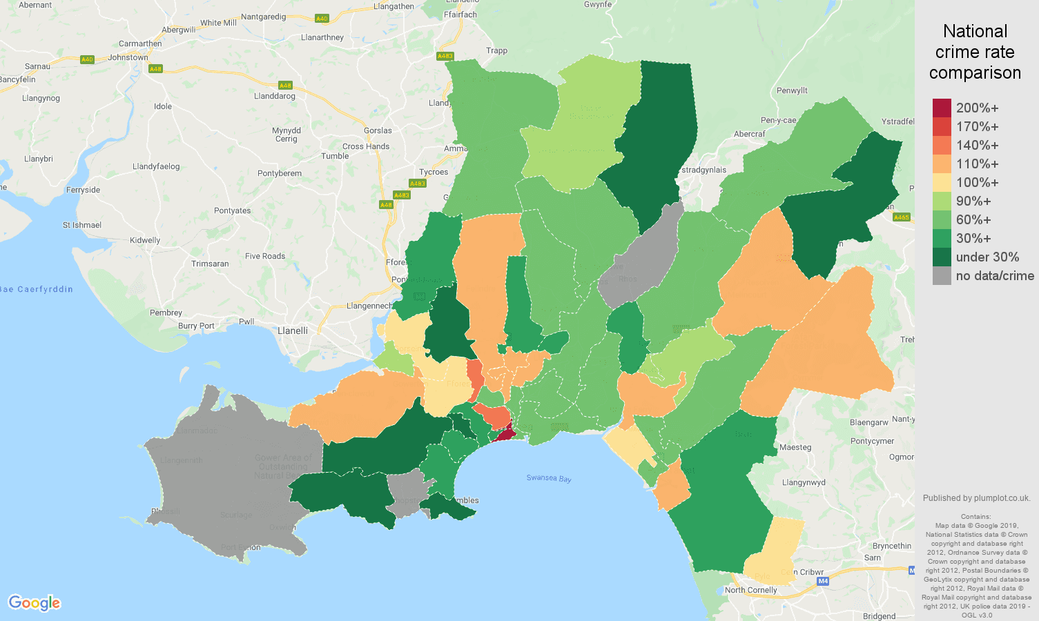 West Glamorgan other crime rate comparison map