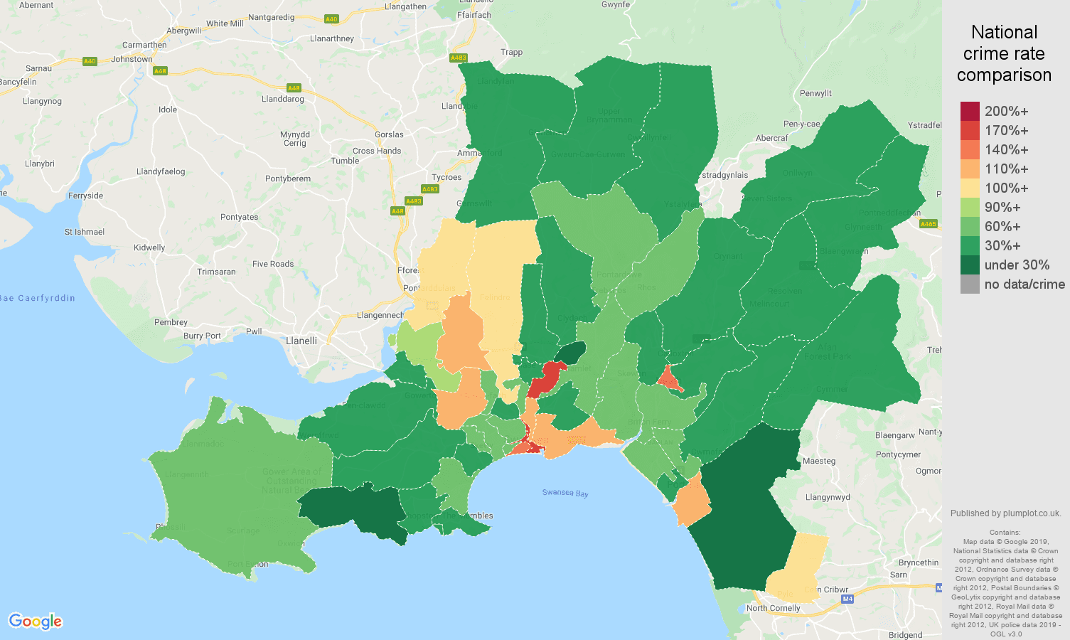 West Glamorgan other theft crime rate comparison map