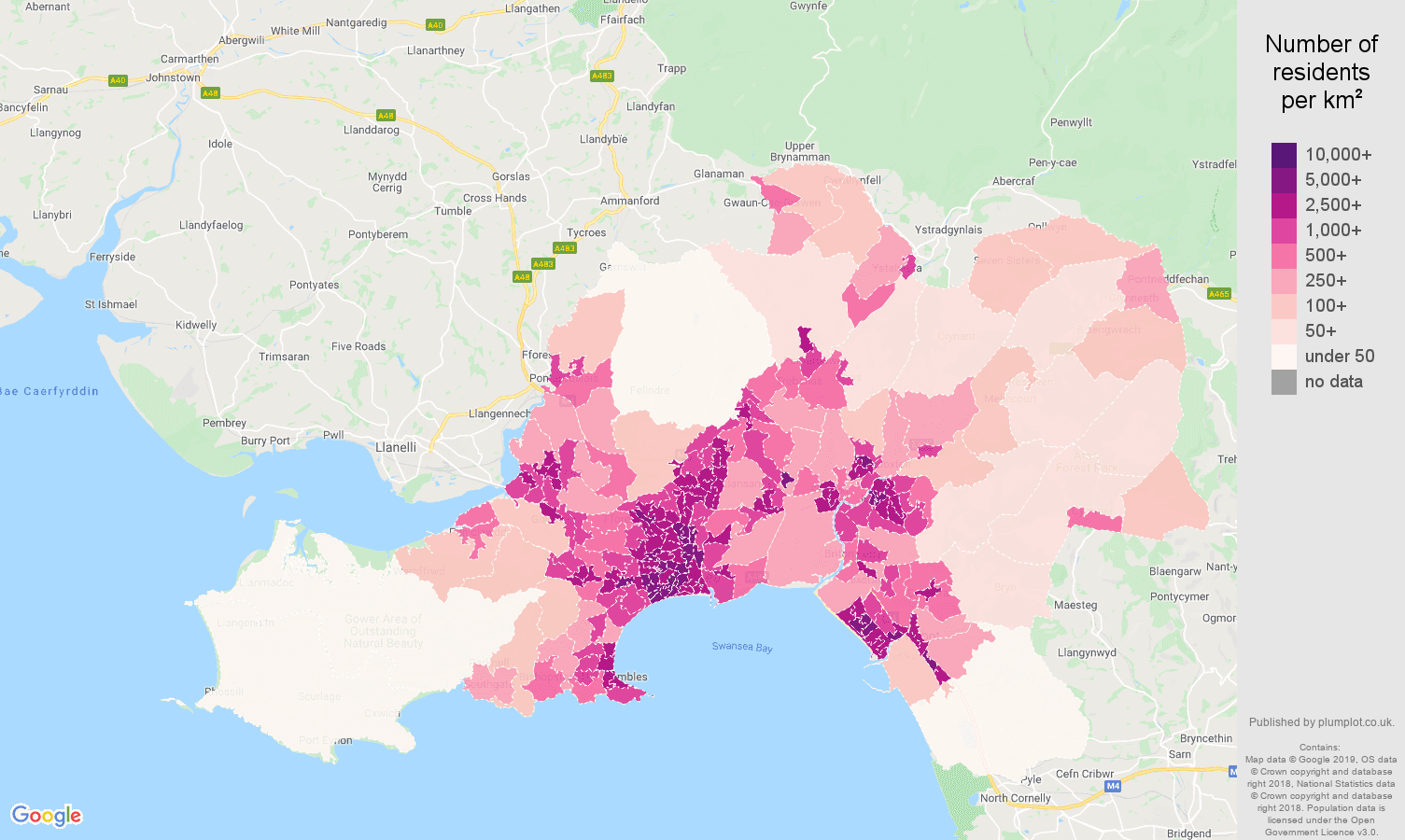 West Glamorgan population density map