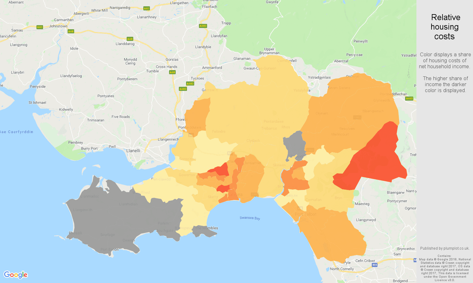 West Glamorgan relative housing costs map