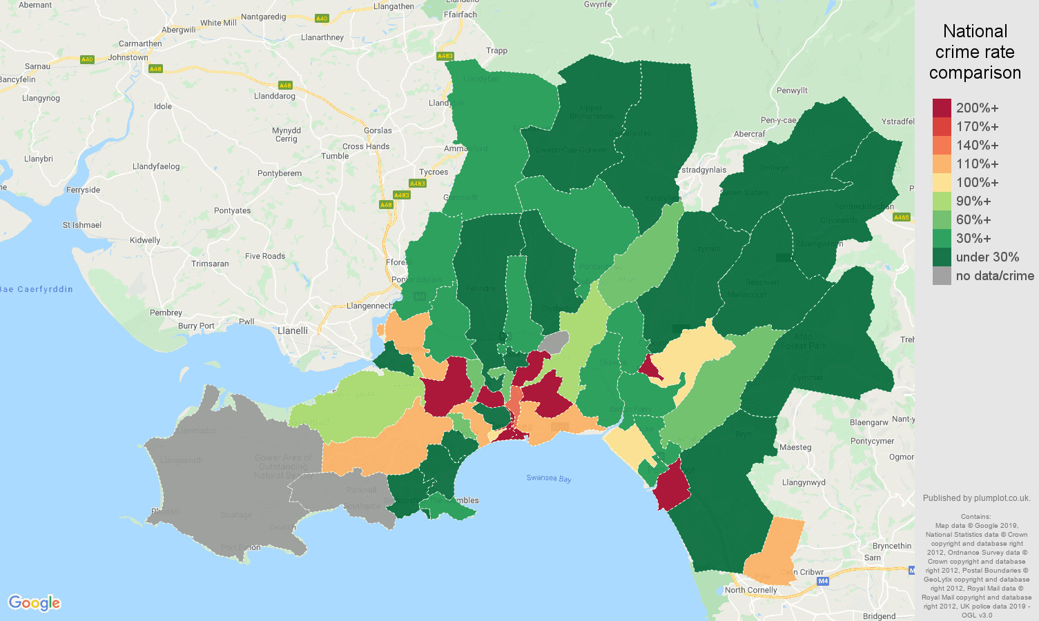West Glamorgan shoplifting crime rate comparison map