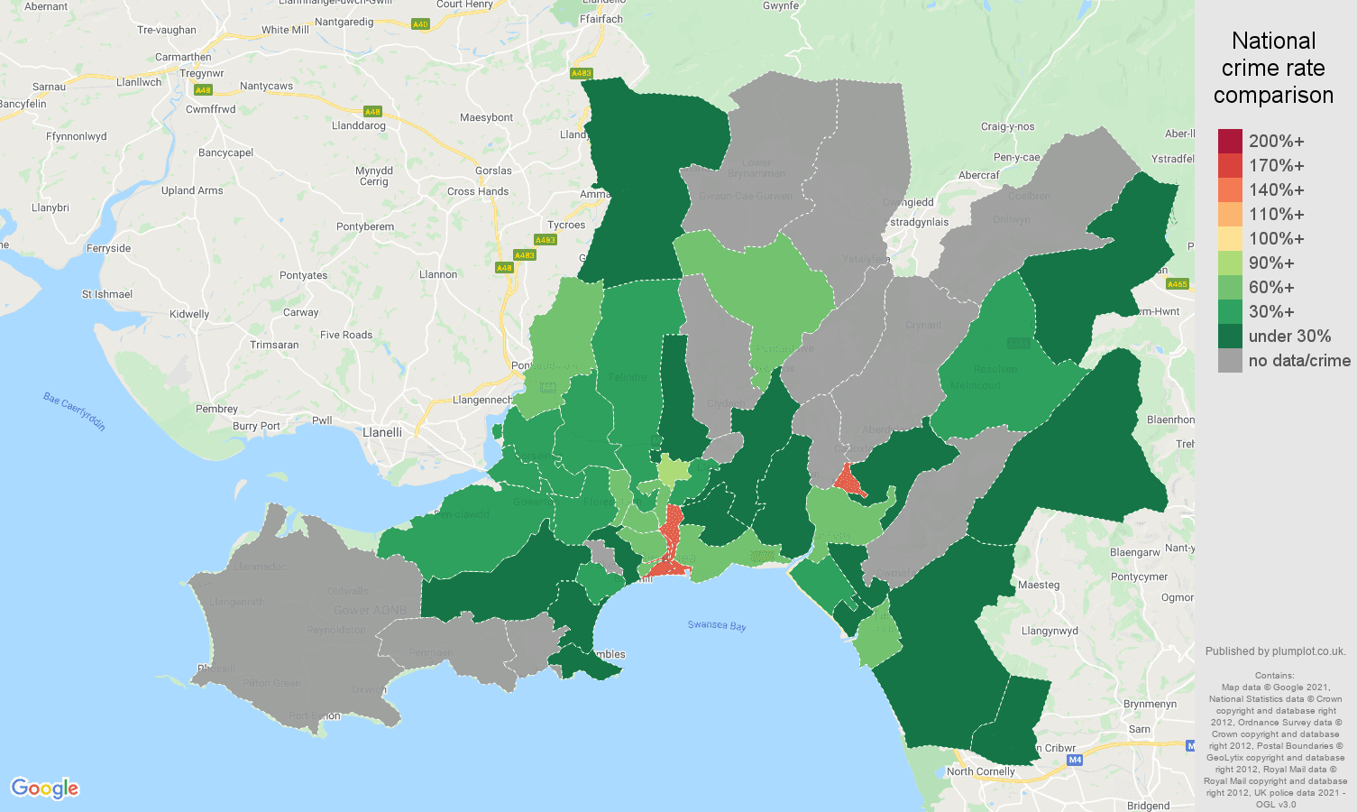 West Glamorgan theft from the person crime rate comparison map