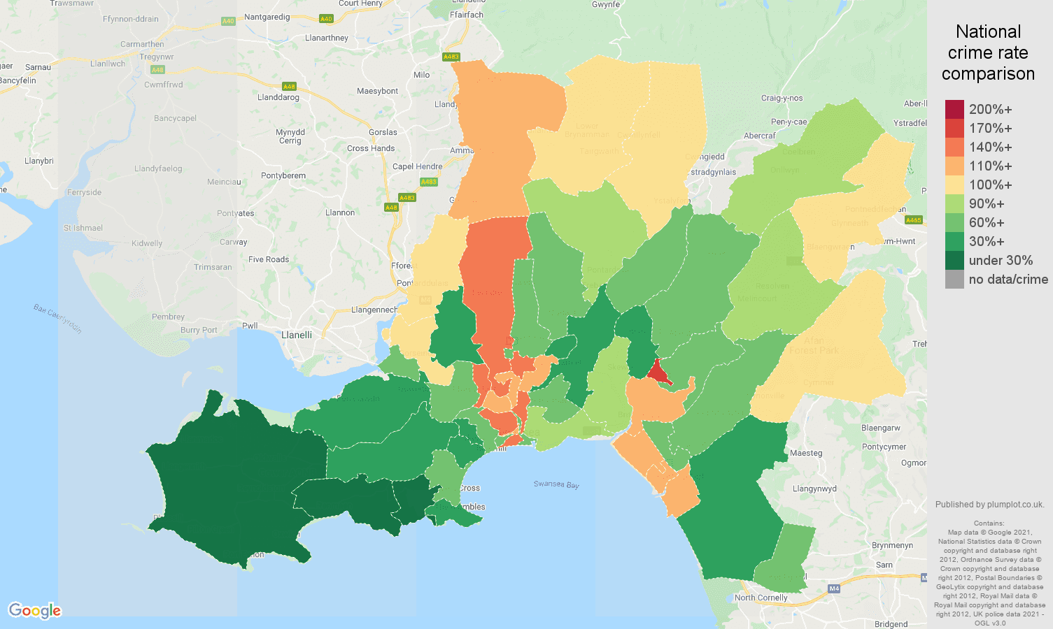 West Glamorgan violent crime rate comparison map