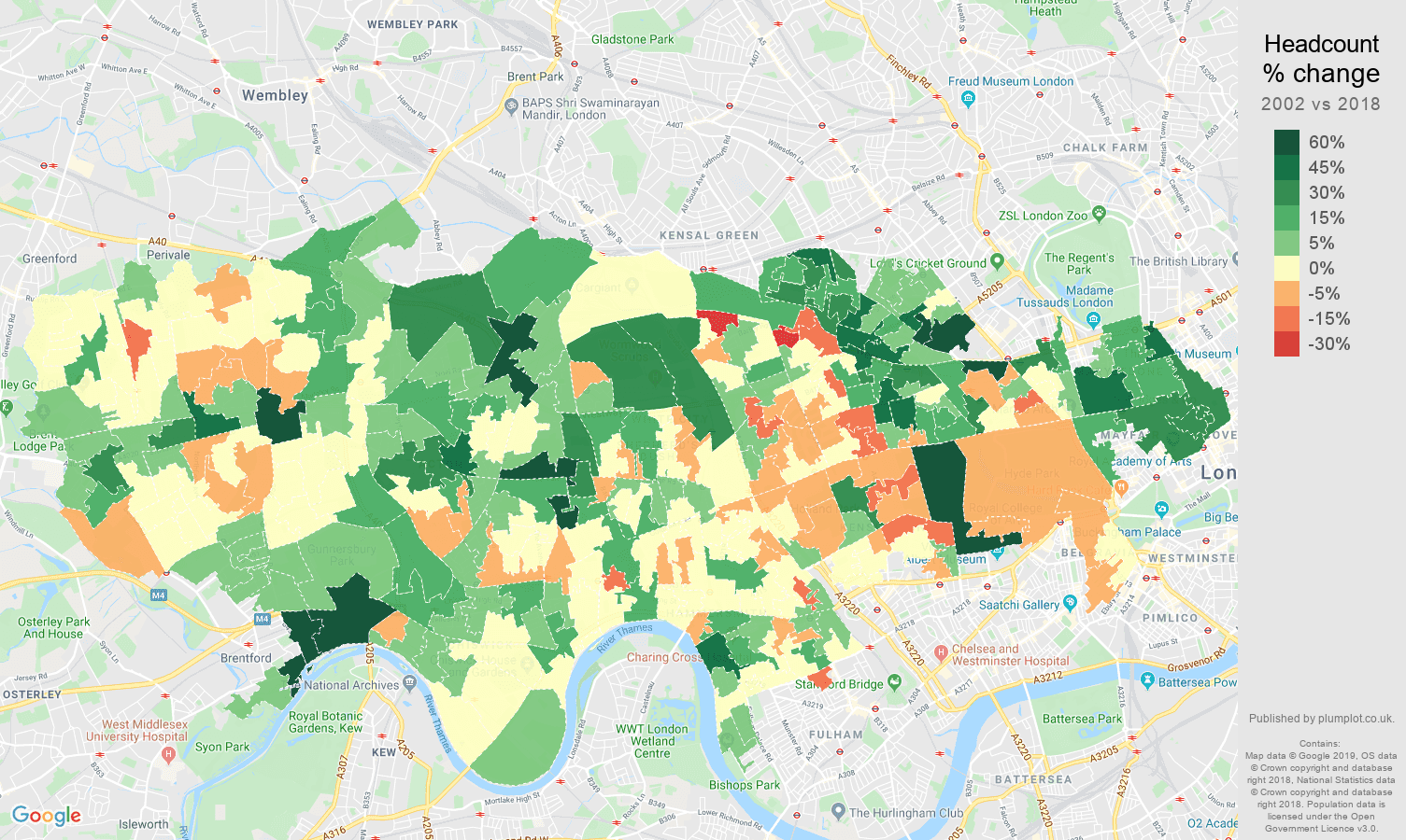 West London headcount change map