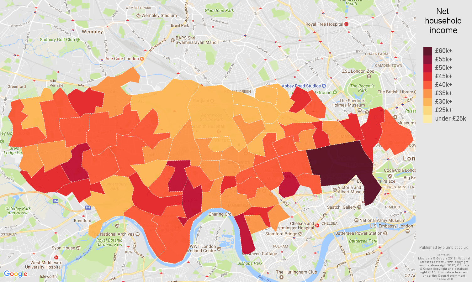 West London net household income map
