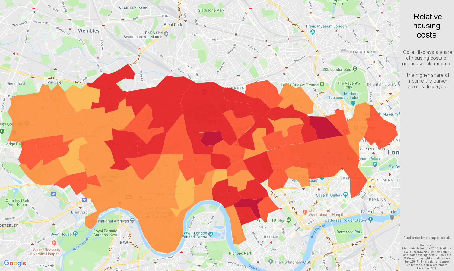 West London relative housing costs map