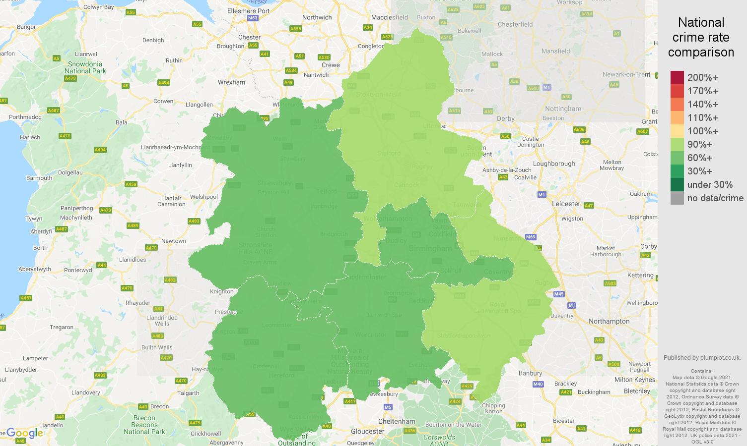 West Midlands antisocial behaviour crime rate comparison map