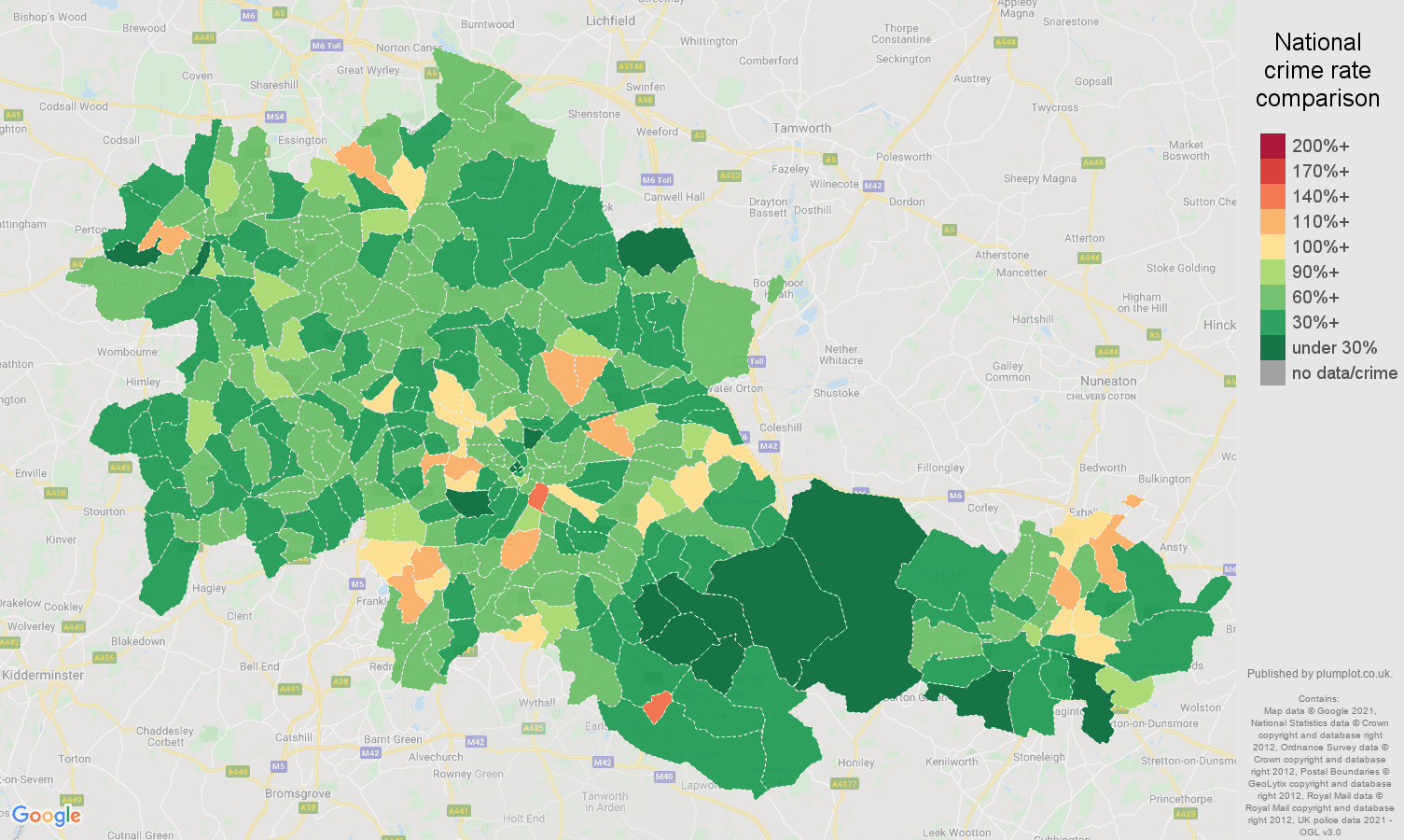 West Midlands county antisocial behaviour crime rate comparison map
