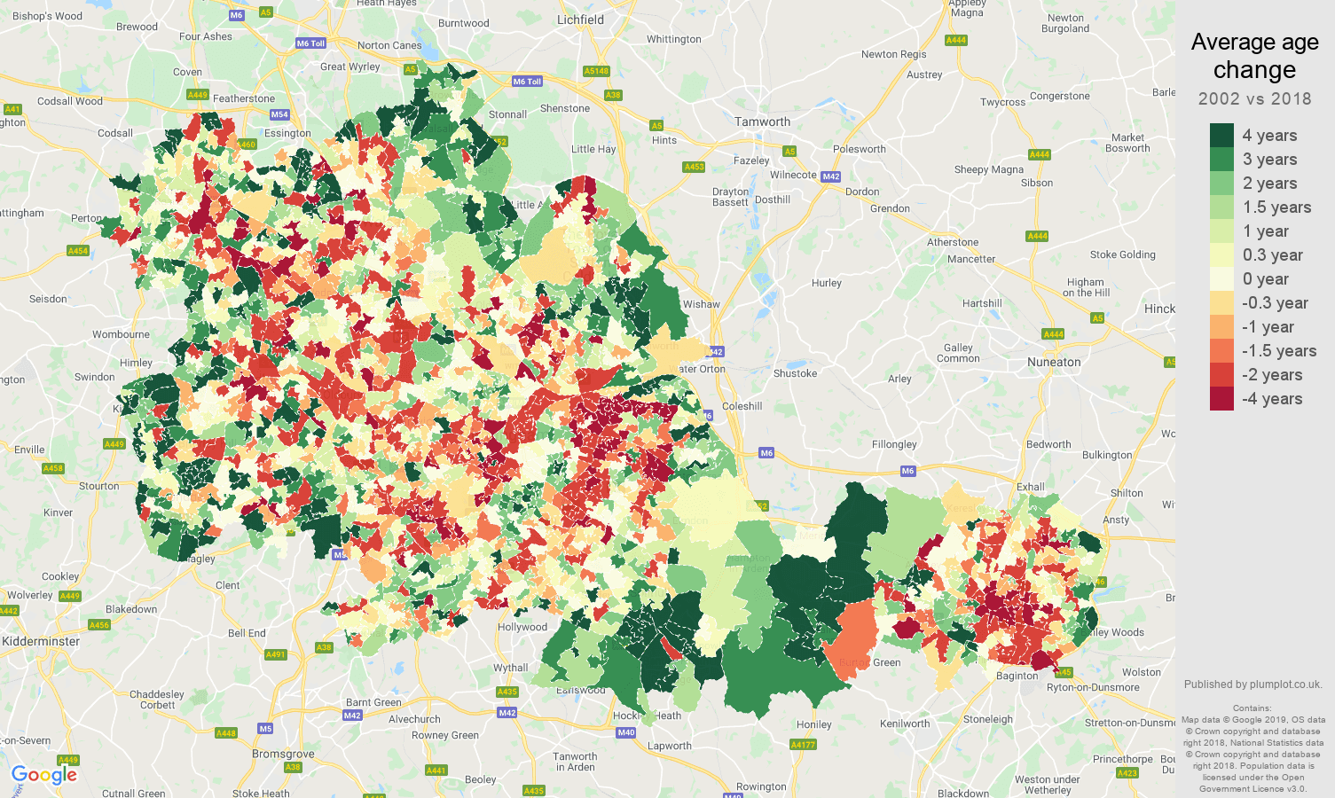 West Midlands county average age change map