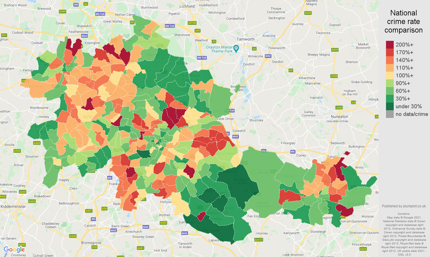 West Midlands county criminal damage and arson crime rate comparison map