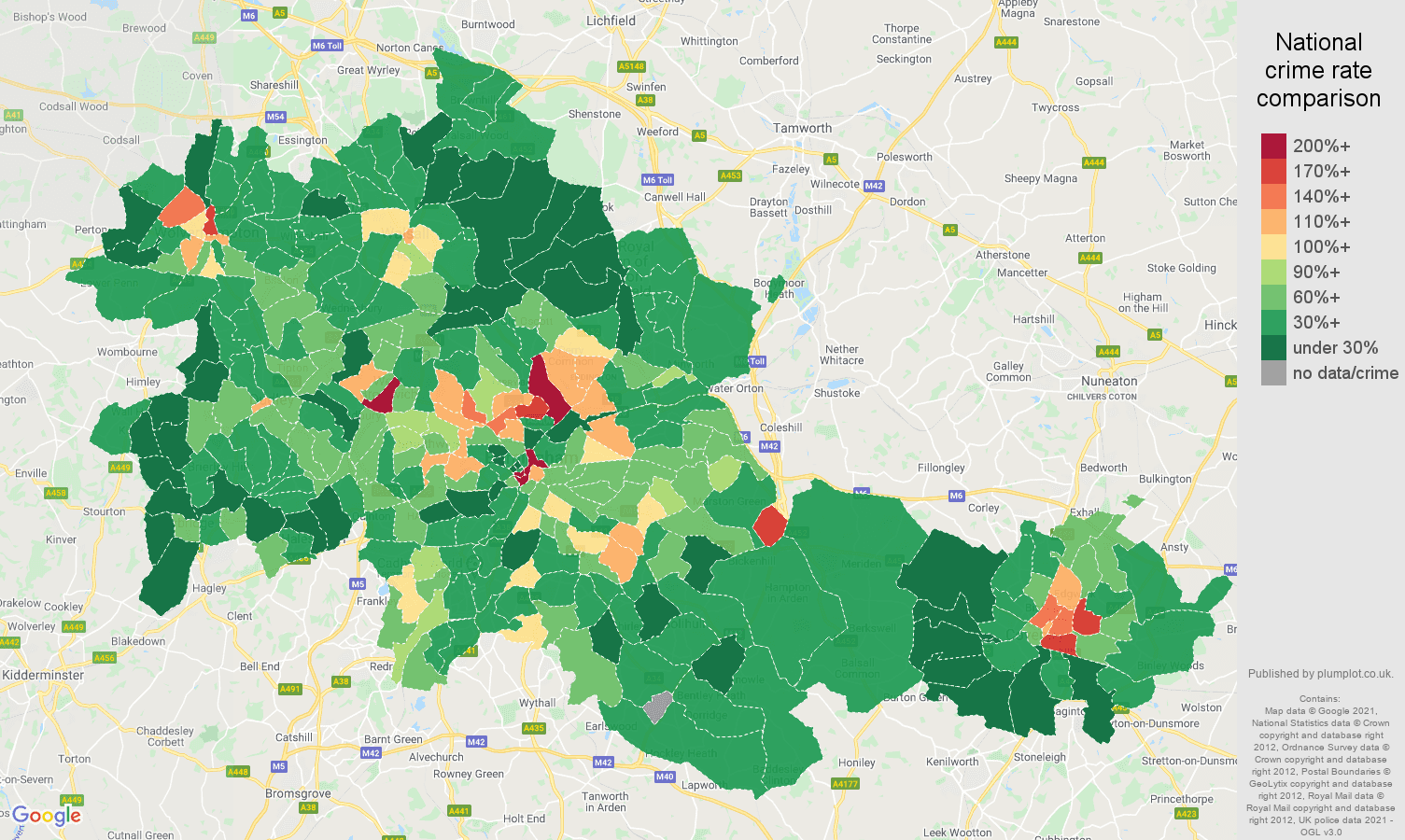 West Midlands county drugs crime rate comparison map