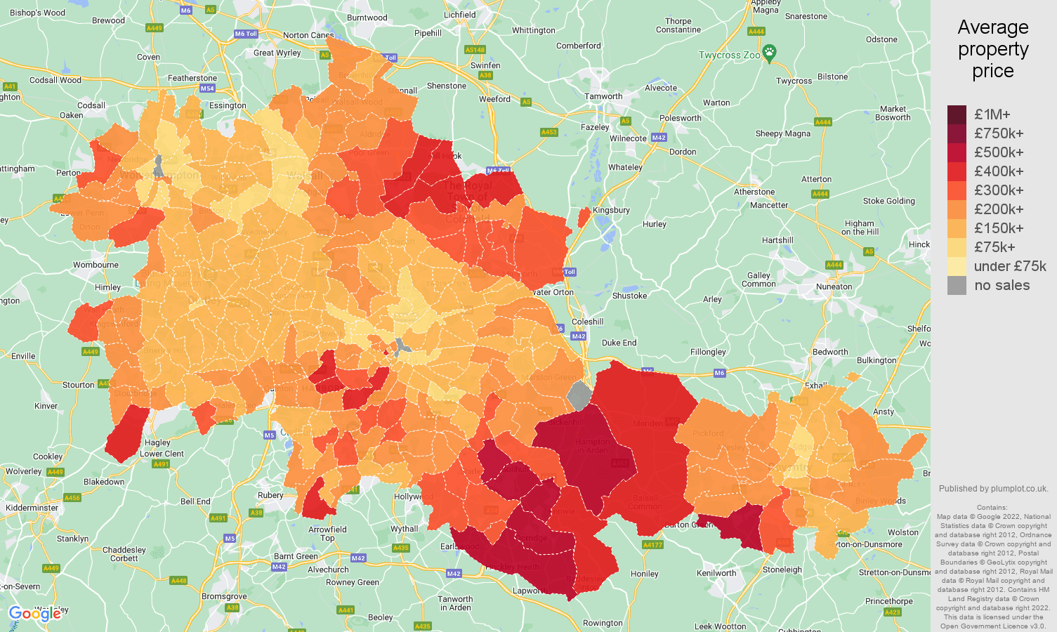 West Midlands county house prices map