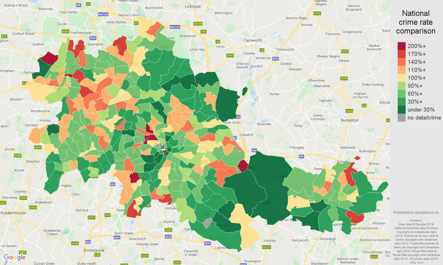 West Midlands county other crime rate comparison map