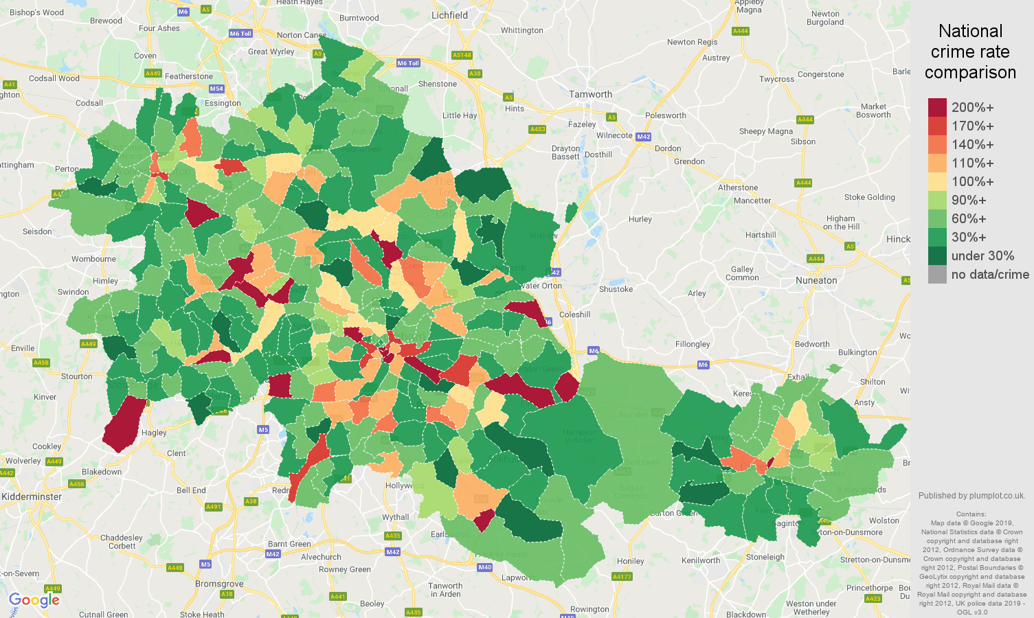 West Midlands county other theft crime rate comparison map