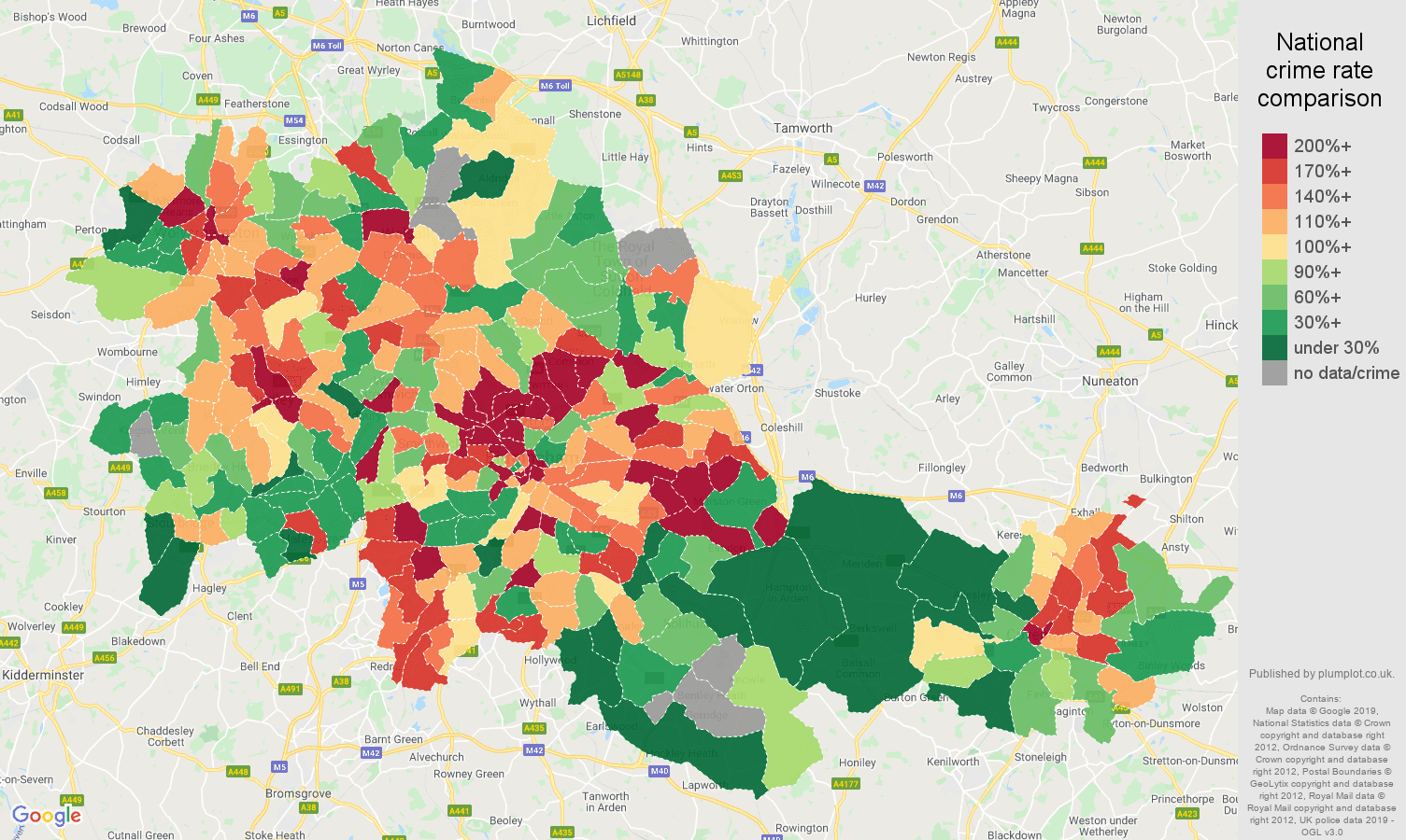West Midlands county possession of weapons crime rate comparison map