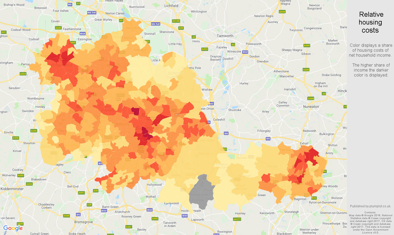 West Midlands county relative housing costs map