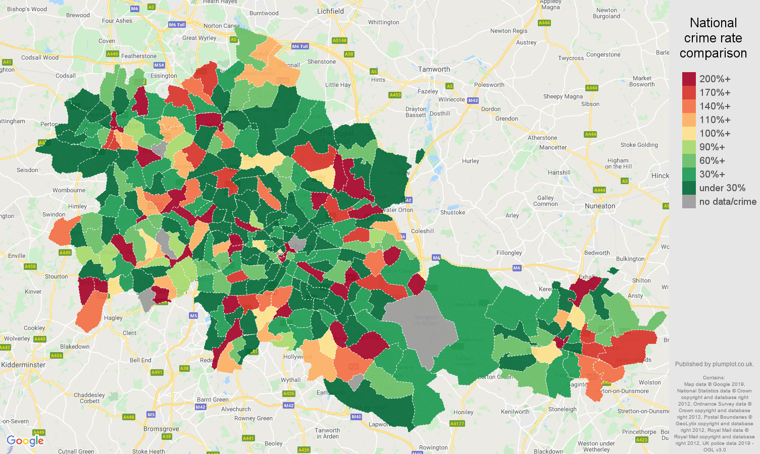 West Midlands county shoplifting crime rate comparison map