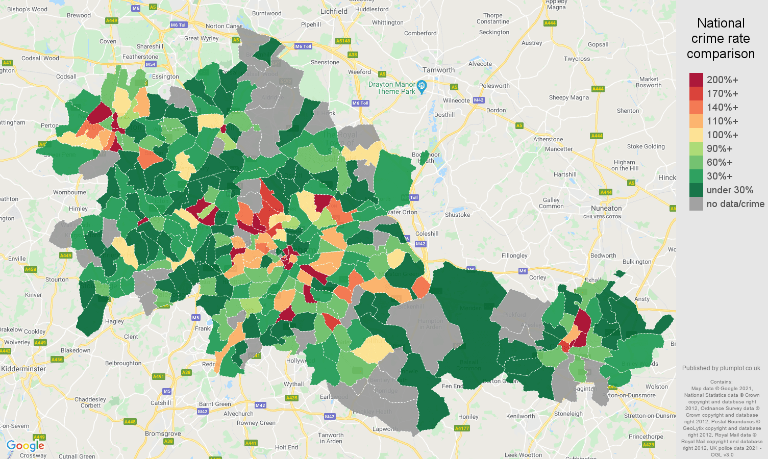 West Midlands county theft from the person crime rate comparison map