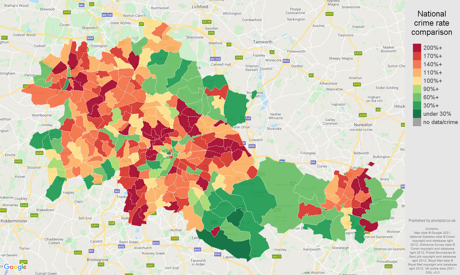 West Midlands county violent crime rate comparison map
