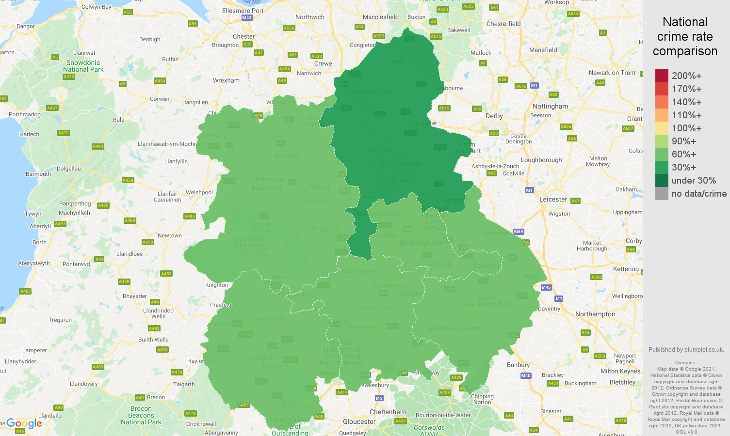 West Midlands drugs crime rate comparison map