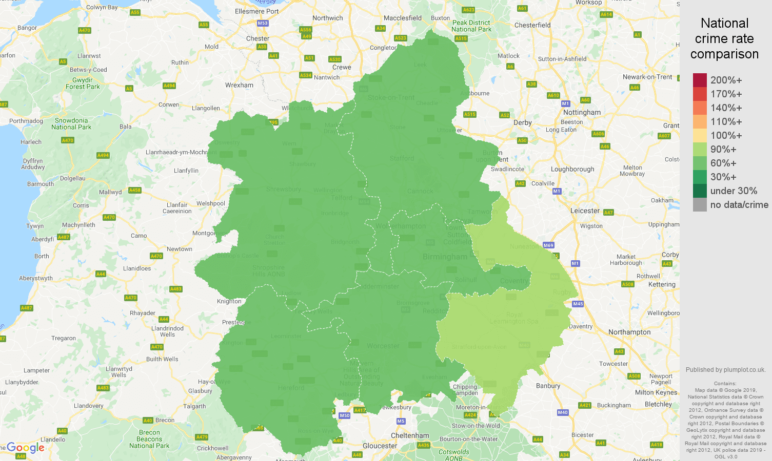 West Midlands other theft crime rate comparison map