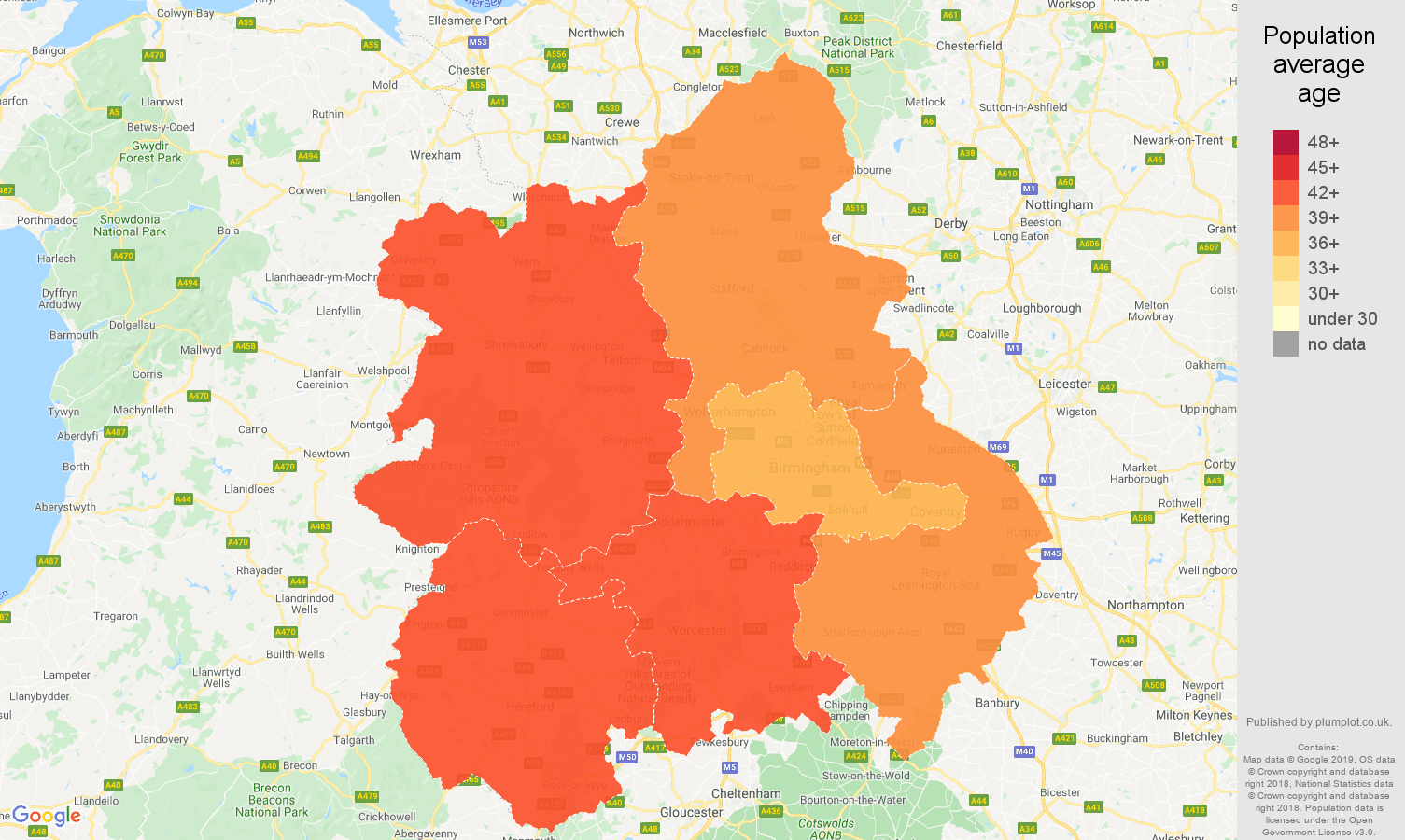 West Midlands population average age map