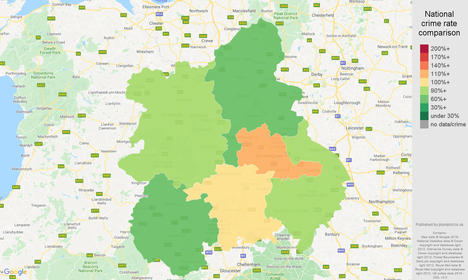 West Midlands possession of weapons crime rate comparison map