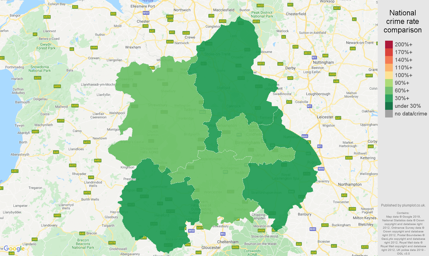 West Midlands public order crime rate comparison map