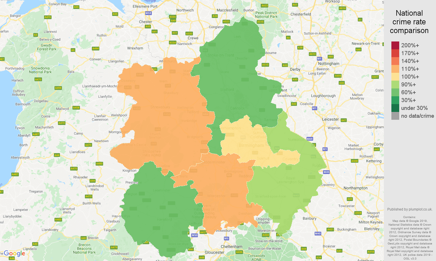West Midlands shoplifting crime rate comparison map