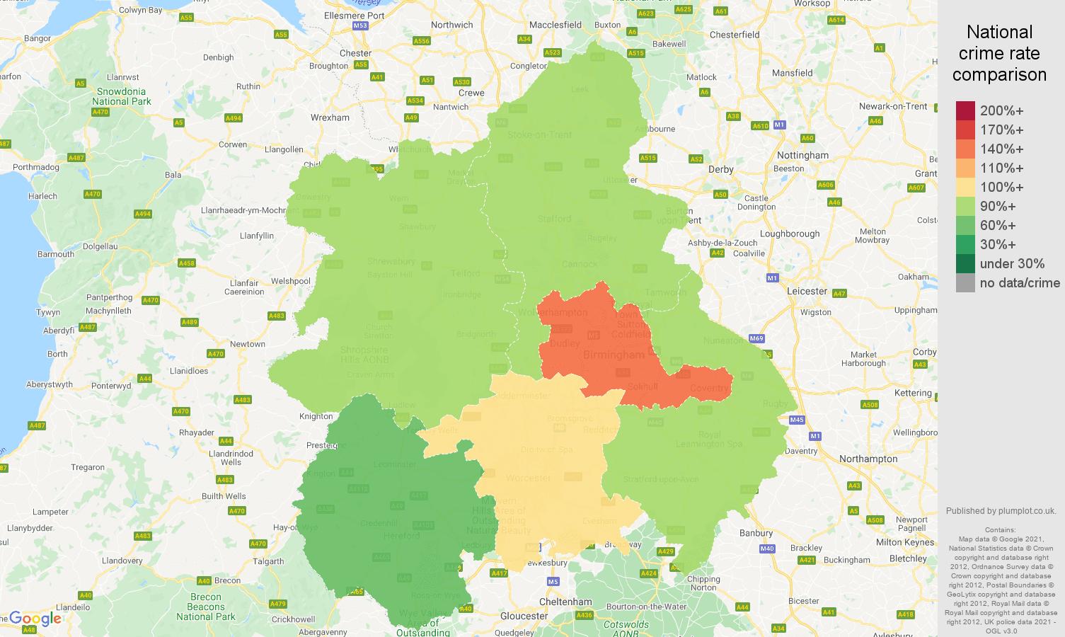 West Midlands violent crime rate comparison map