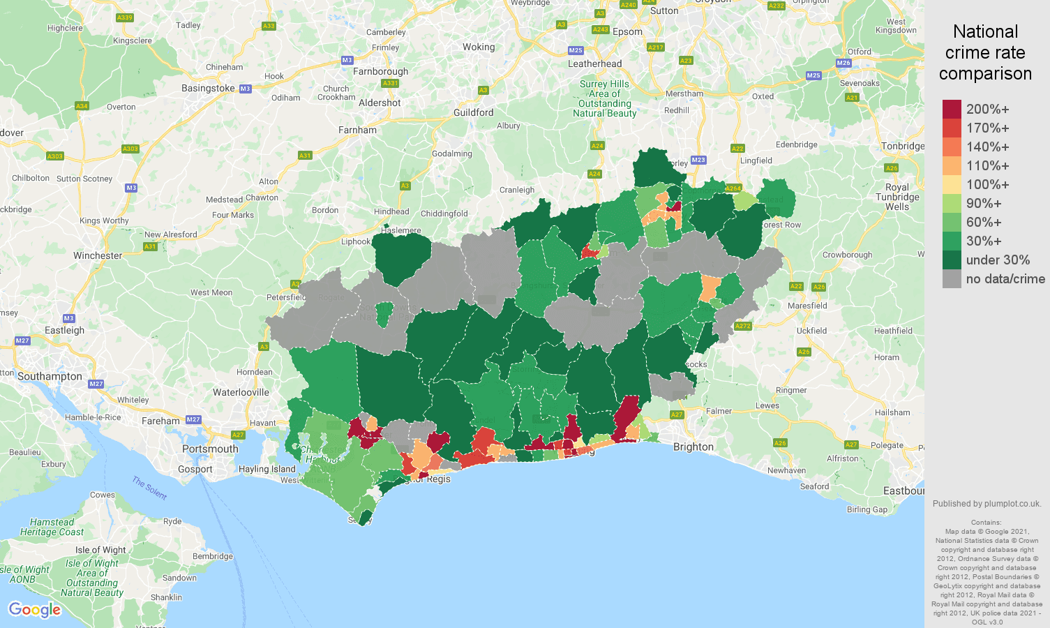 West Sussex bicycle theft crime rate comparison map