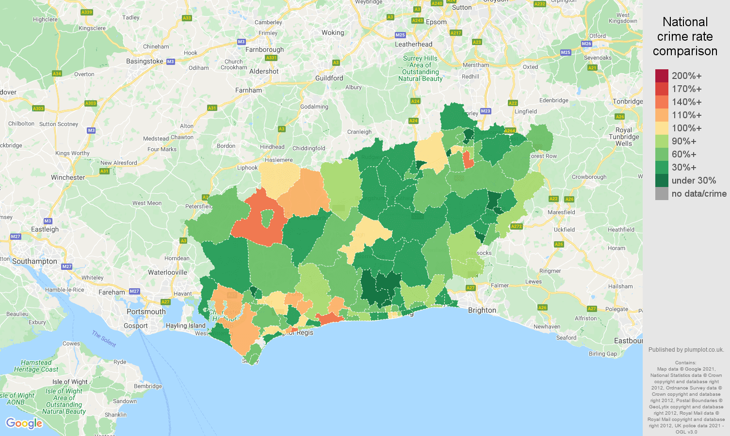 West Sussex burglary crime rate comparison map