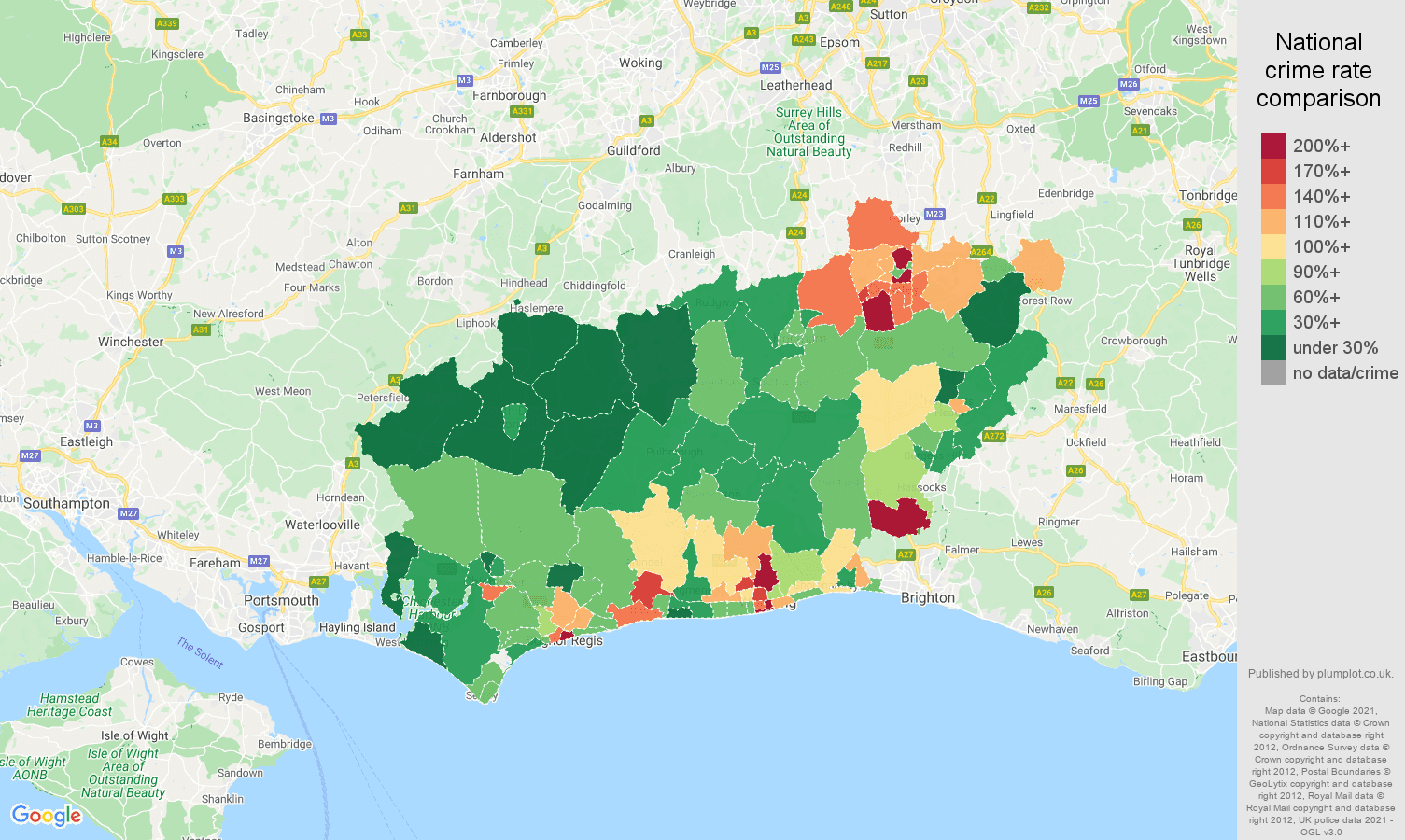 West Sussex drugs crime rate comparison map
