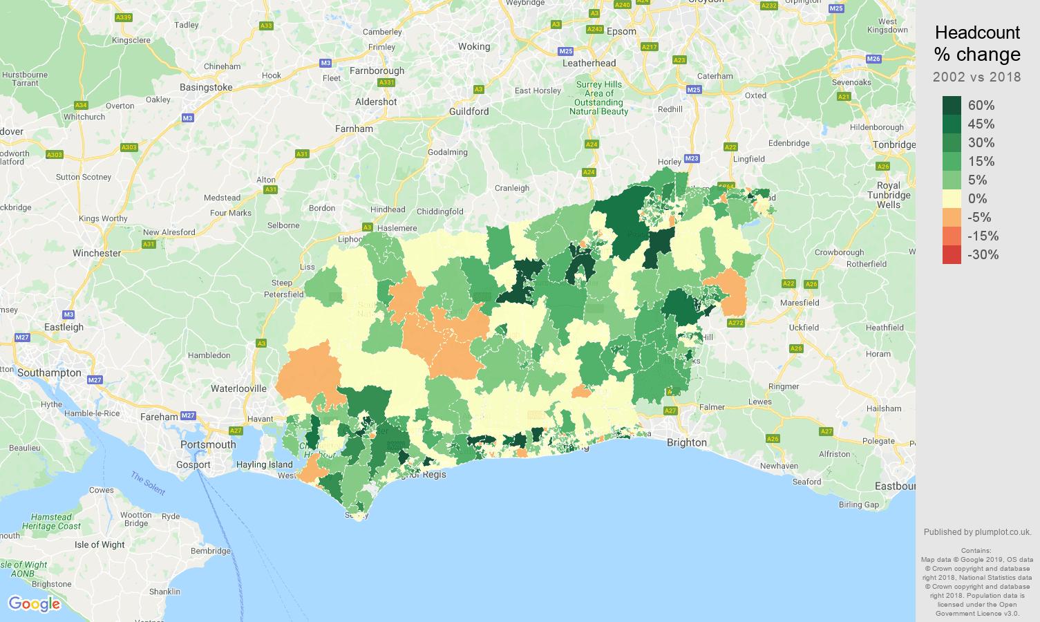 West Sussex headcount change map