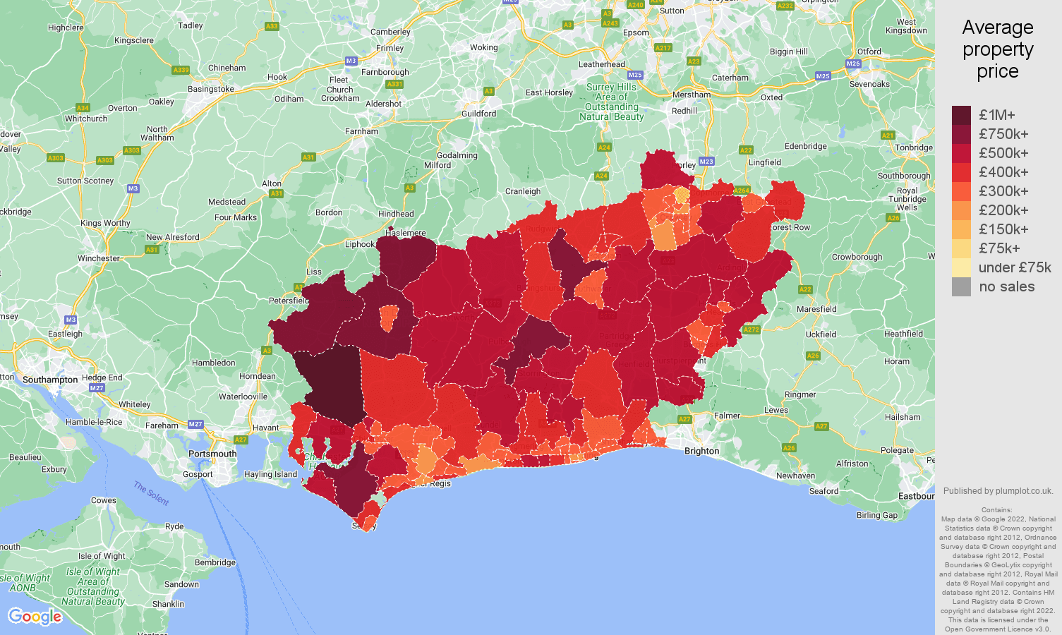 West Sussex house prices map