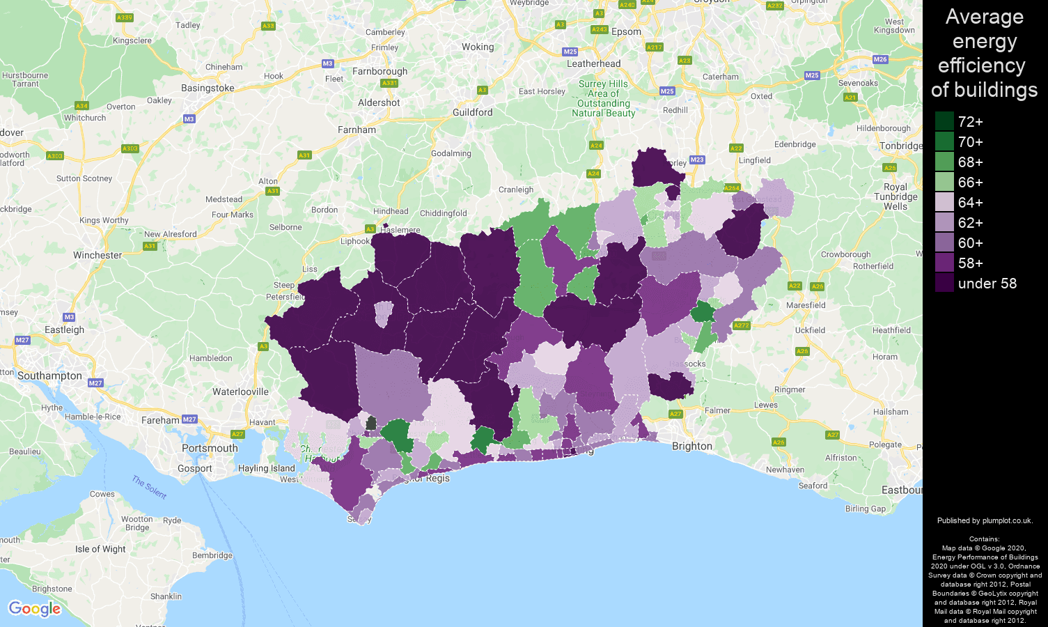 West Sussex map of energy efficiency of houses